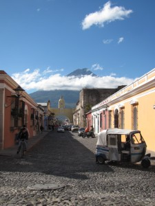 view of volcan de agua from Antigua Guatemala