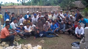 Mayan village men constructing new school