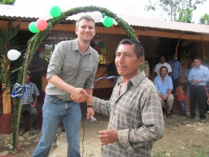 Delivery of keys to new mayan village junior high school in Rio Dulce